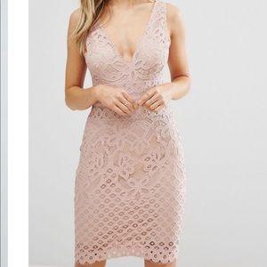 Asos plunge pink lace bodycon dress Xs /Uk 6